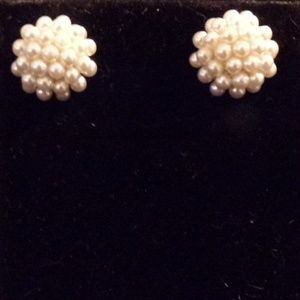 Cultured Pearl Cluster Style Button Earrin…